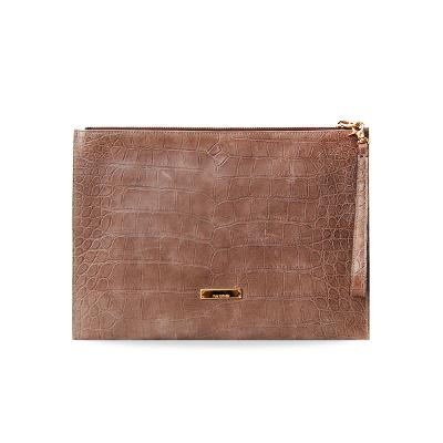 croco embo clutch brown